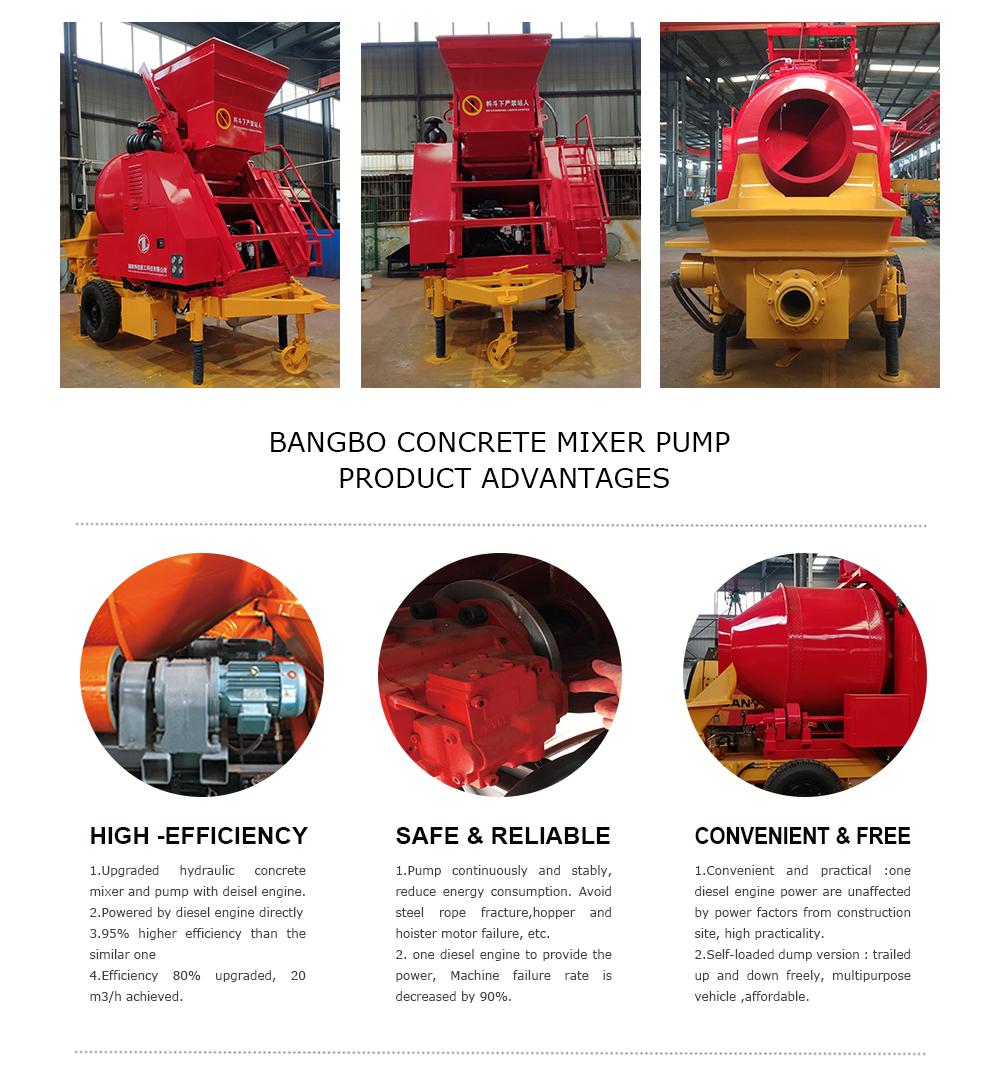 BANGBO JBT30 Small Portable Diesel Concrete Mixers Pump Congcrit Machine