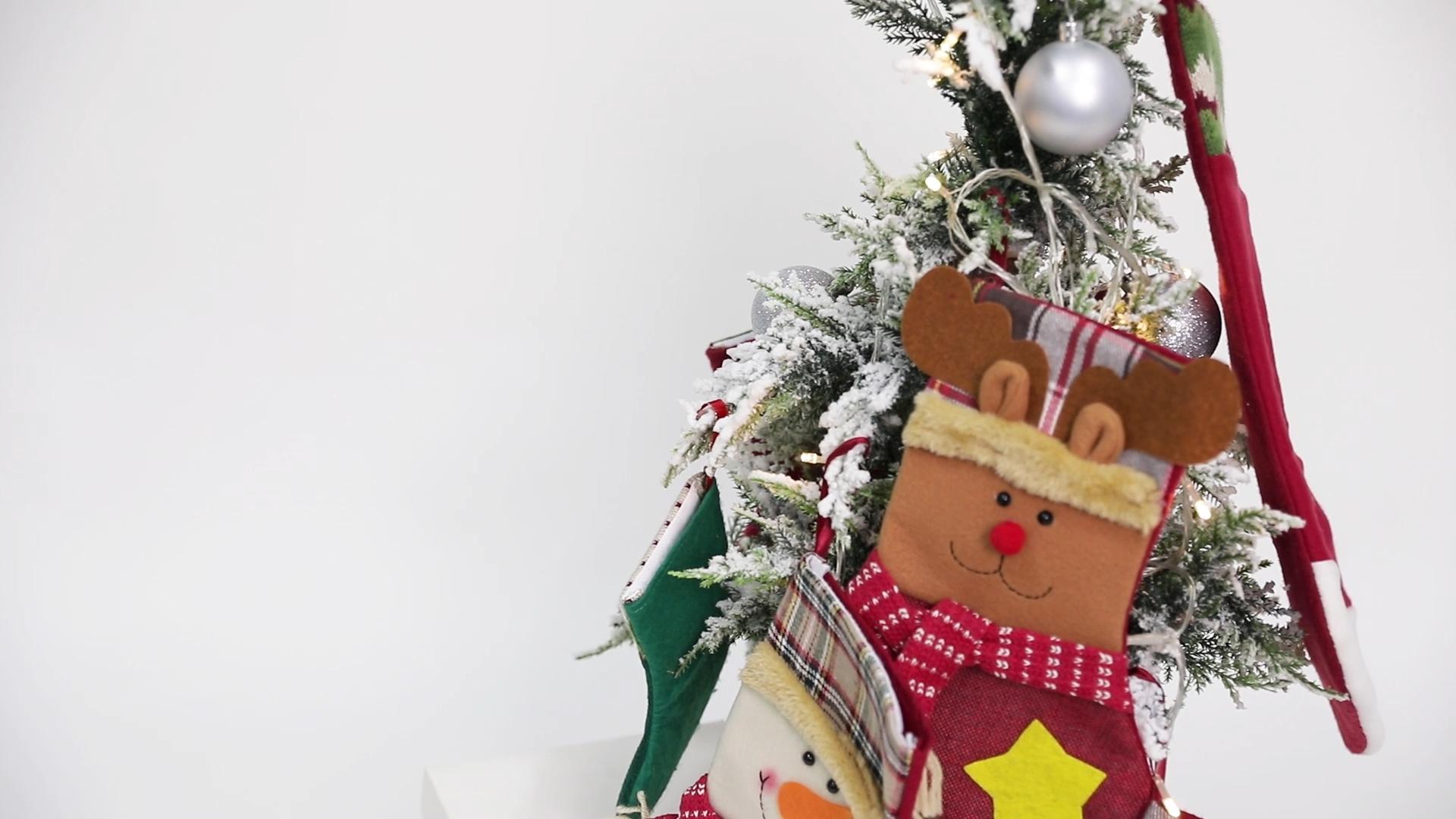 "Personalized 3 Packs 18"" Xmas Big Stockings Slipper With Snowman Handmade 3D Plush Mens Christmas Socks For Christmas Decoration"