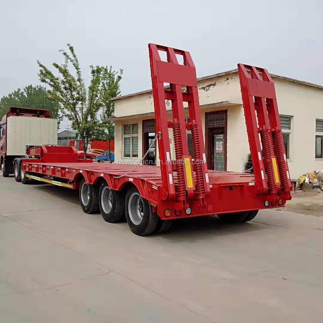 SINOTRUCK HOWO 3 axle 50 ton low bed trailer transport trailer truck