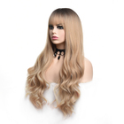 Synthetic The Wig Best Selling Blonde Wigs Long Straight And Body Wave Dark Roots Heat Resistant Synthetic Bangs Lace Wig