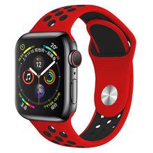 Новый дышащий силиконовый спортивный ремешок для Apple Watch, резиновые ленты для iWatch 38 мм 42 мм 2 3, 40 мм 44 мм, серия 4 5(Китай)