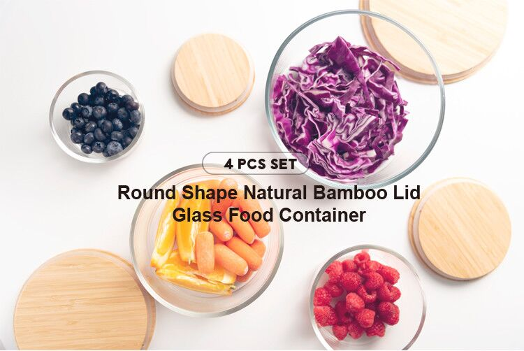 Family friendly food container bamboo glass food bamboo lid