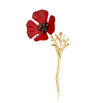 Vintage 3D Red Enamel Flower Brooch Pin Lapel Pin Scarf Clip Brooch Gold Branch Poppy Brooches