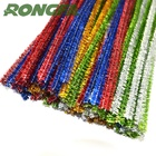 Graphic Customization [ Stem ] Chenille Stem 6mm X 100pcs Glitter Colorful Pipe Cleaners Metallic Chenille Stem For DIY Kids