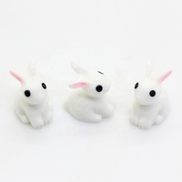 100pcs 3D Mini Rabbit Animal Miniature Fairy Garden Decoration Doll House Terrarium Decor Ornament Toys Micro Landscape Ornament