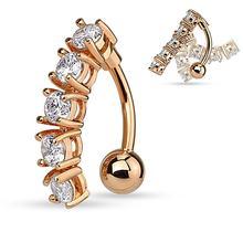 4 Кристальные кольца для пупка CZs 316L хирургические стальные колечки для пупка пирсинг для живота Nombril Ombligo женские и мужские 1,6*10 мм Ювелирные ...(Китай)