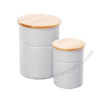 JASION Tea/Coffee/Sugar Bins Wooden Lid canister