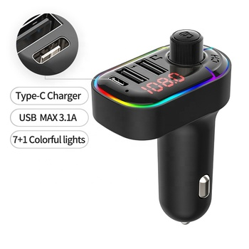 LUTU C12 Bluetooth 5.0 fm transmitter hands-free car mp3 player 7+1 colorful lights usb PD Fast car charger support sirl