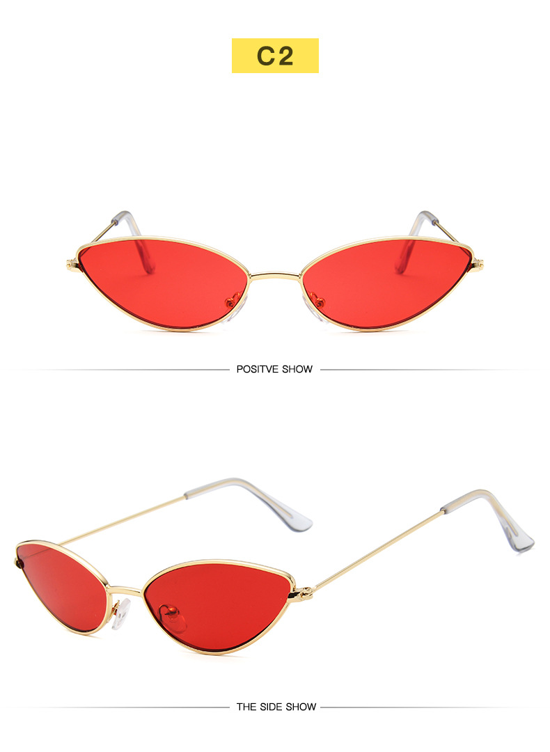 Women sun glasses supplier small metal frame candy color triangle sunglasses