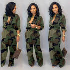 Women Fashion Camouflage Clothing Women's Pockets Wide-leg Opening Jumpsuit