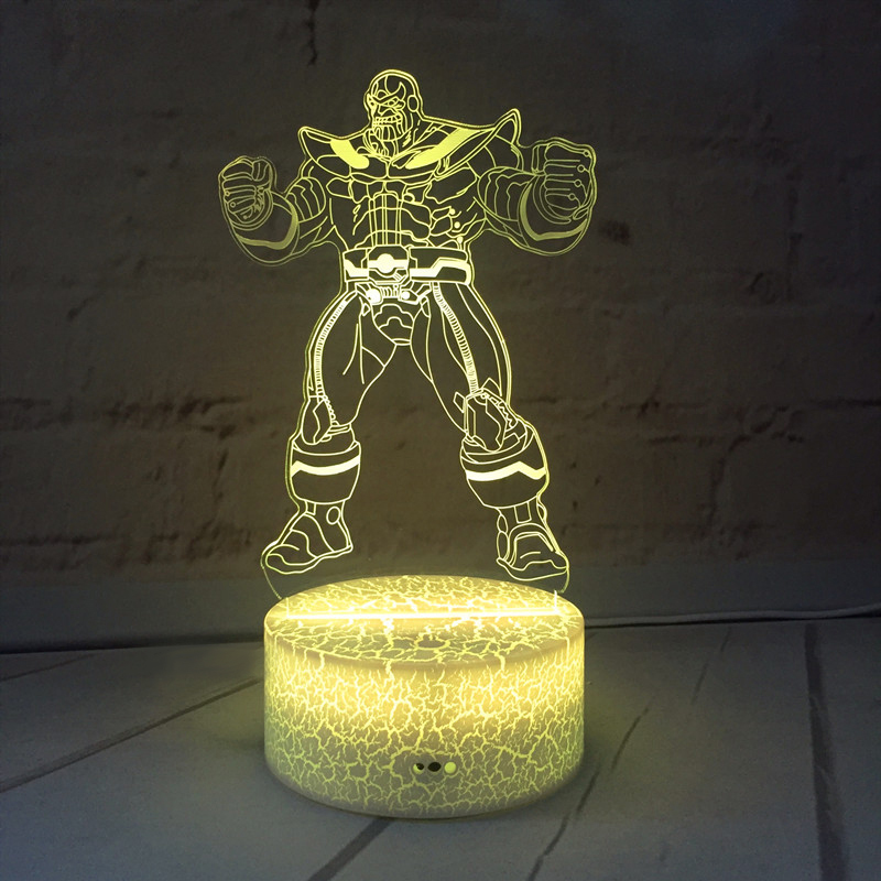 Custom superhero 3d Night <strong>Light</strong> 7 <strong>Color</strong> Changing USB Desk lamp LED Touch switch Bar <strong>Light</strong> for Boys Kids Gifts
