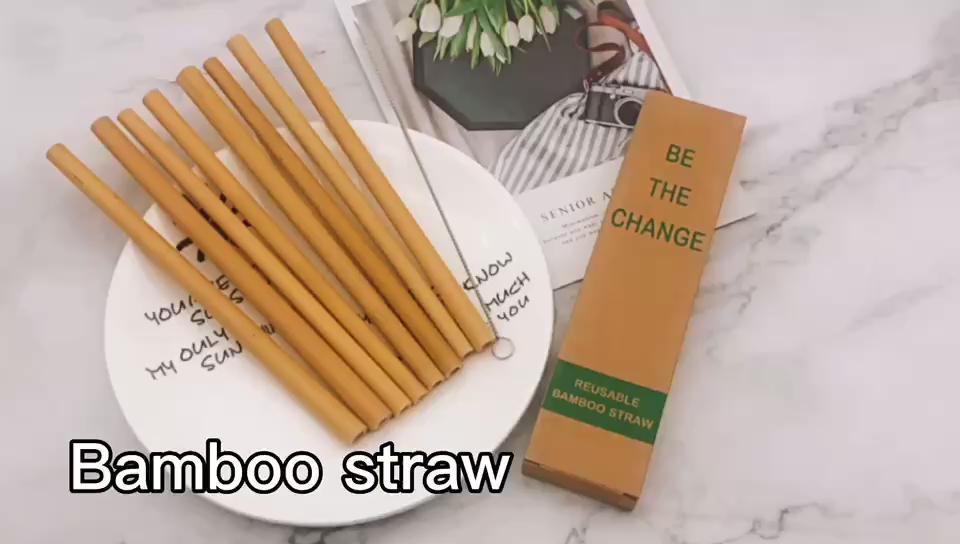 Amazon best di vendita eco friendly bere paglia naturale di bambù riutilizzabile paglia