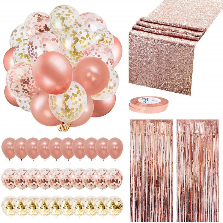 Nicro new products Rose Gold Balloons Party Decorations Supplies Set