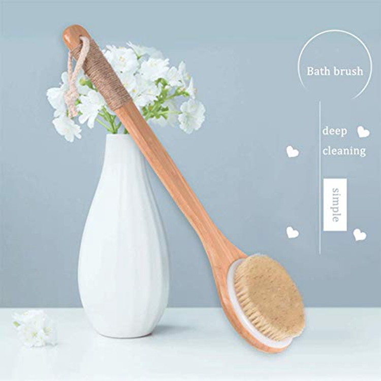 Long Handle Bamboo Bath Brush, Shower Brush with Soft Bristles for Exfoliating Skin