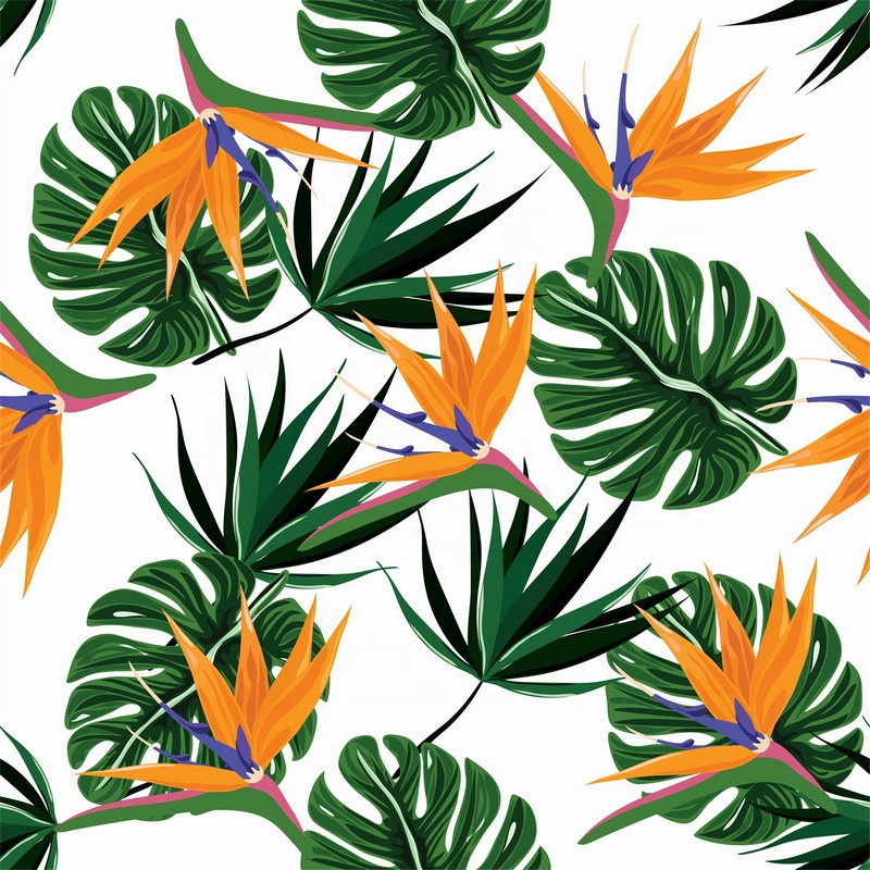Fonesun-PS717 Wholesale 75D 100% Polyester Chiffon Tropical Leaves Printed Fabric