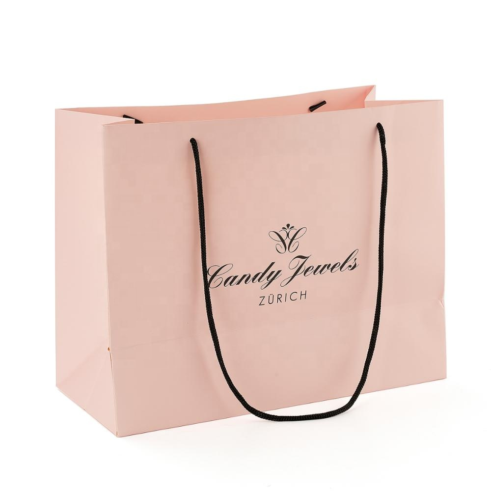 Luxury  Large Stand Up bags Shopping Cloth Kraft Paper Bag With Handles