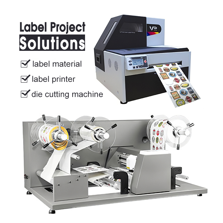 Roll To Roll Digital Color Vinyl Label Sticker <strong>Printer</strong> And Automatic Roll Paper Die Cutting Machine For Sticker Labels