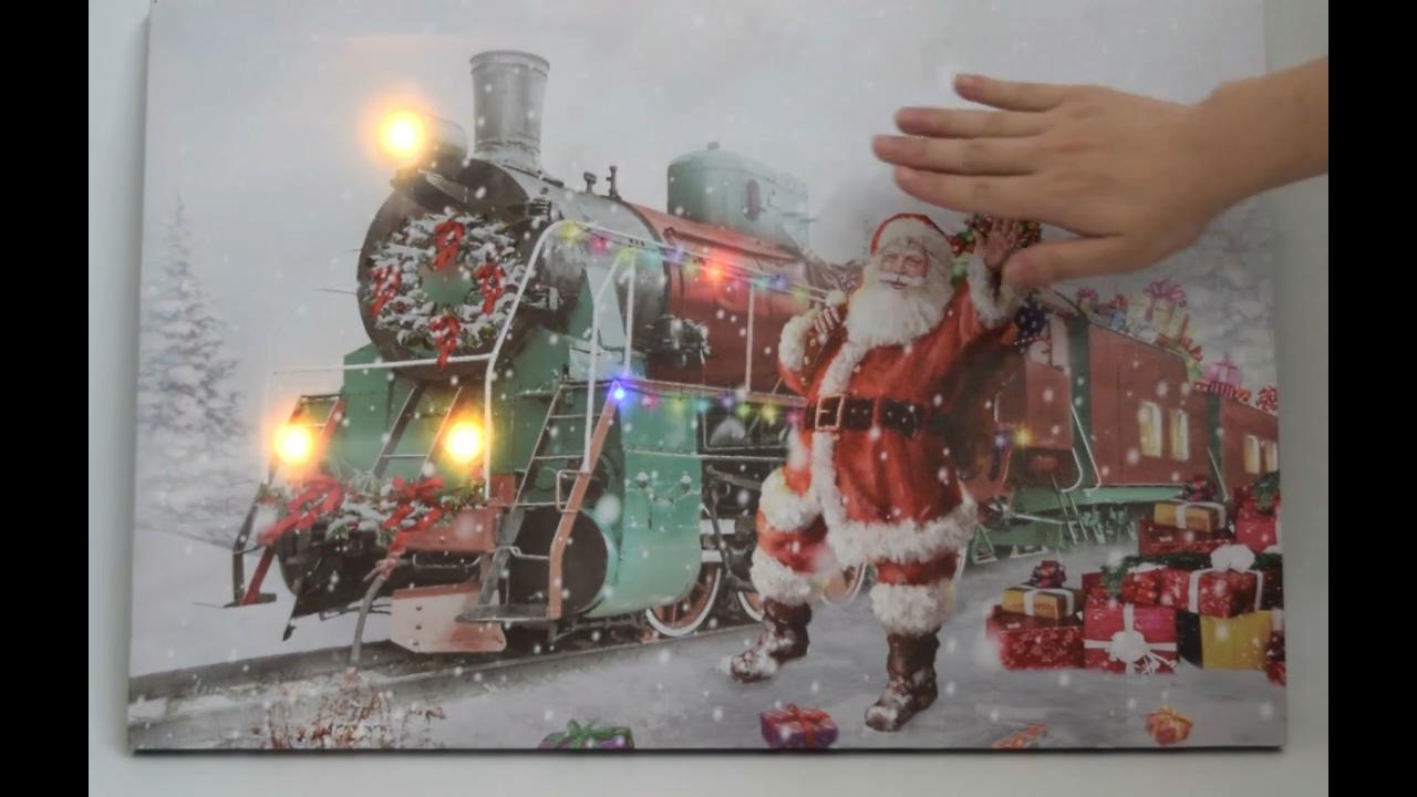 מודרני אמנות ציורי LED תמונה חג המולד בד מודפס נוף בצבעי מים