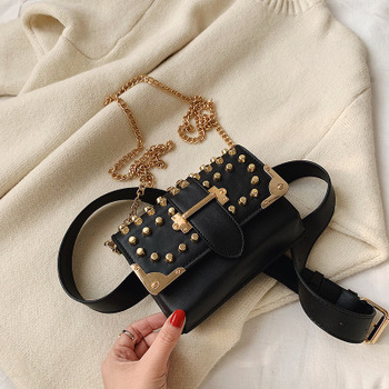 2020 Fashion lady handbag New korean Styles pure color texture chain shoulder bag rivet crossbody wholesale bag