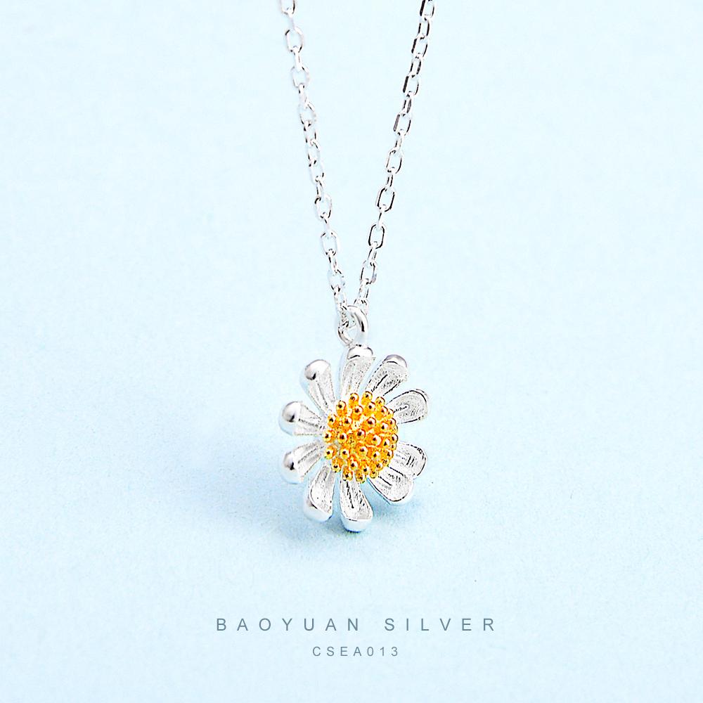 Di modo 925 di semi di Girasole Gioielli Forma di Fiore Del Sole Collana In Argento Per Le Donne Della Signora