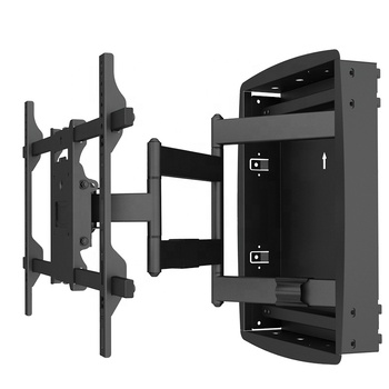 Factory Full Motion Steel Recessed Low Profile TV Wall Mount With Black