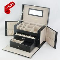 Promotion leather custom jewelri box travel jewelry organizer case large jewelry box wholesale