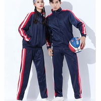 Navy blue red outdoor tracksuit men basketball jacket uniform cheap price with velvet tracksuit tops and bottoms