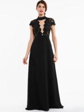 Dressv вечернее платье с высоким воротом, черное платье с рукавами-крылышками, длина до пола, платье трапециевидной формы, недорогое кружевное ...(Китай)