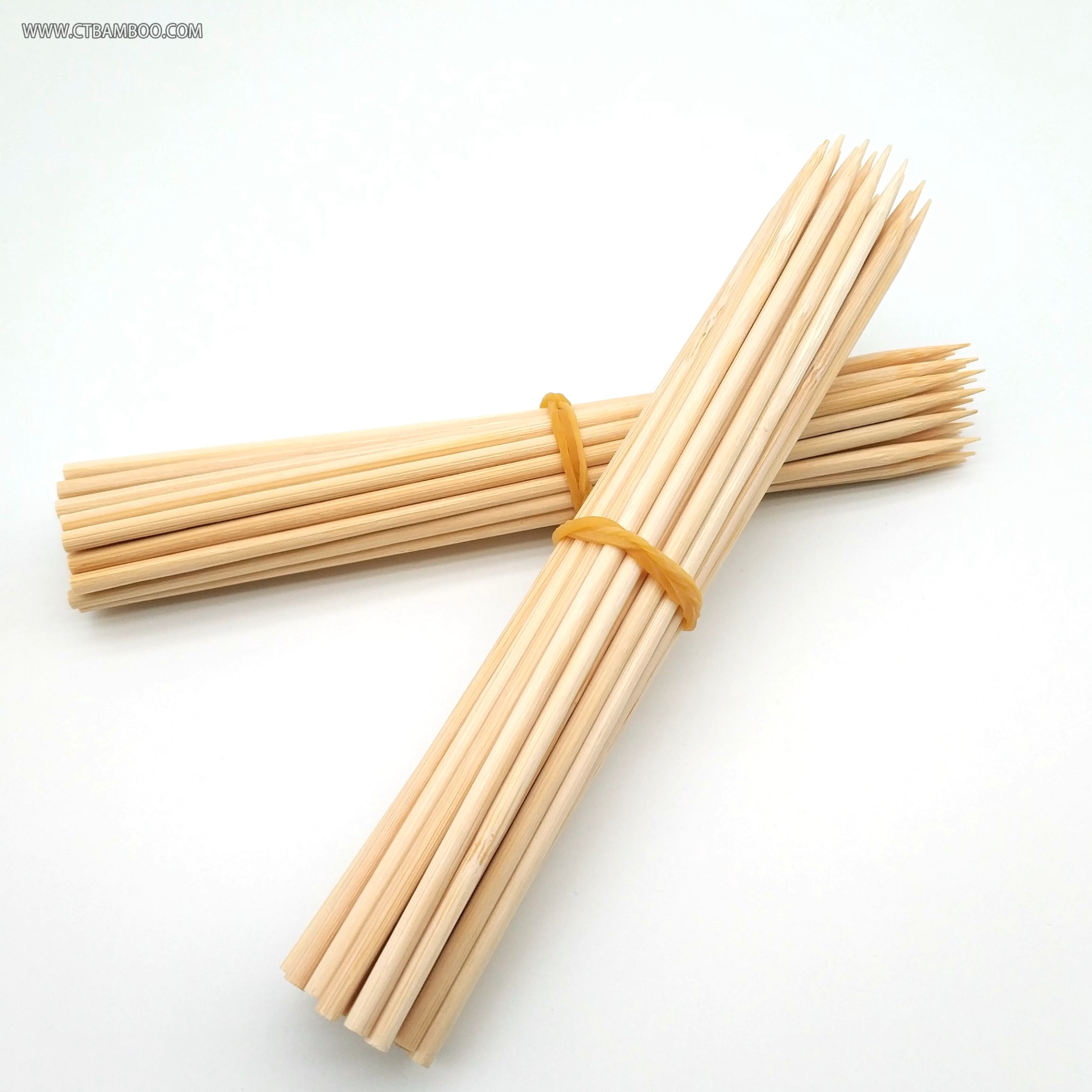 Hot selling products marshmallow roasting sticks wooden bamboo round skewer 15cm 30cm 40cm  50cm 60cm 70cm 90cm 36inch