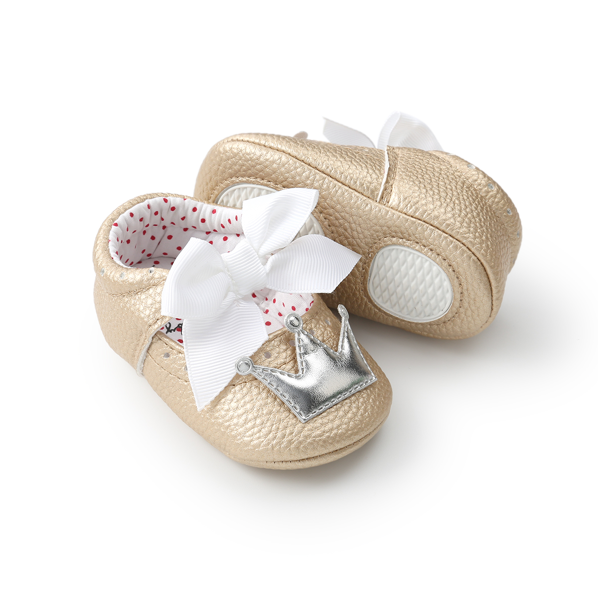 Wholesale Cute PU Leather crown bowknot princess dress party toddler baby girl shoes