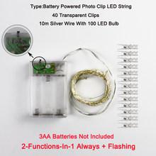 Мигающий светодиодный светильник-гирлянда с зажимом для фотографий, гирлянда для спальни, украшение для дома, мерцающий светильник, 3AA свет...(Китай)