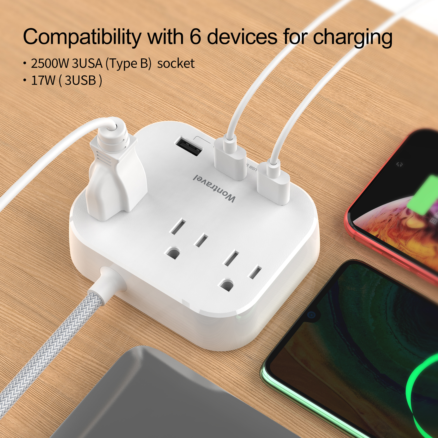Wontravel universal american power outlet extension electric adapter wall tap ac socket surge protector USB power strip