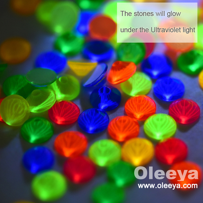 Fresh Neon Color 3mm to 10mm Middle Hole Round Shape Flatback Glass Sew on Stones for Fashion Evening Dress