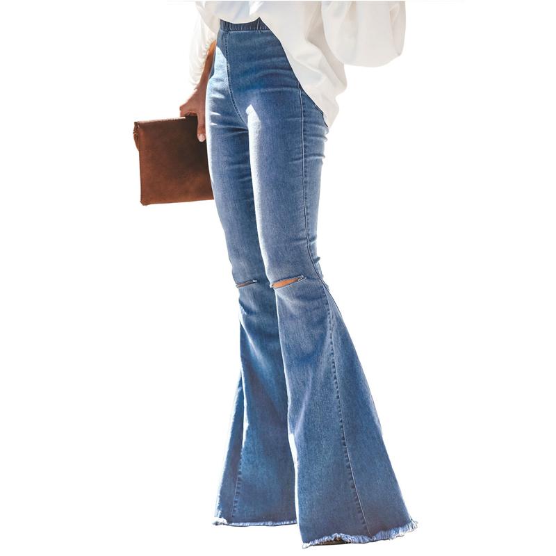 थोक गर्म बिक्री प्लस आकार डेनिम महिलाओं व्यापक पैर पैंट जींस लंबी डेनिम जींस flared व्यथित जींस महिलाओं के साथ उच्च गुणवत्ता