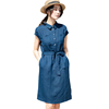 Cotton And Linen Slim Lace Belt Collar Summer Ladies Casual Short-Sleeved Dress