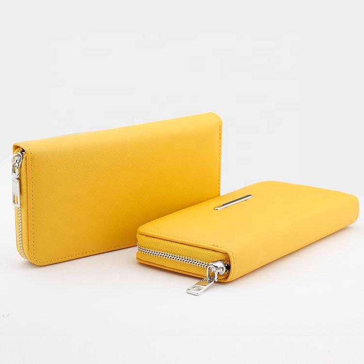 도매 맞춤형 지갑 유행 간단한 PU Saffiano 지갑 가죽 여성 클러치 긴 지퍼 골드 숙녀 지갑