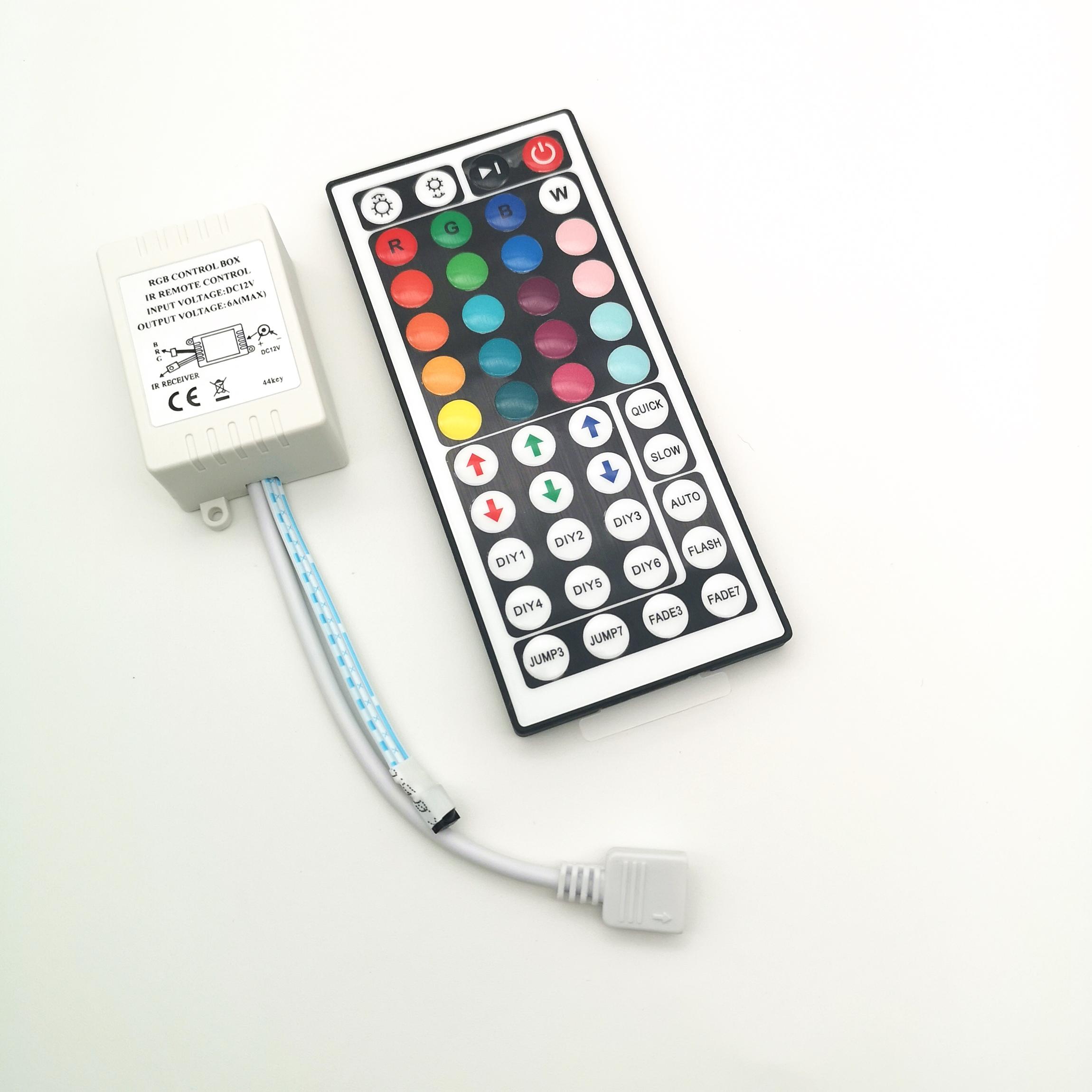 New Arrival Plastic 44keys IR Remote Led Strip 12v Rgb Control Box