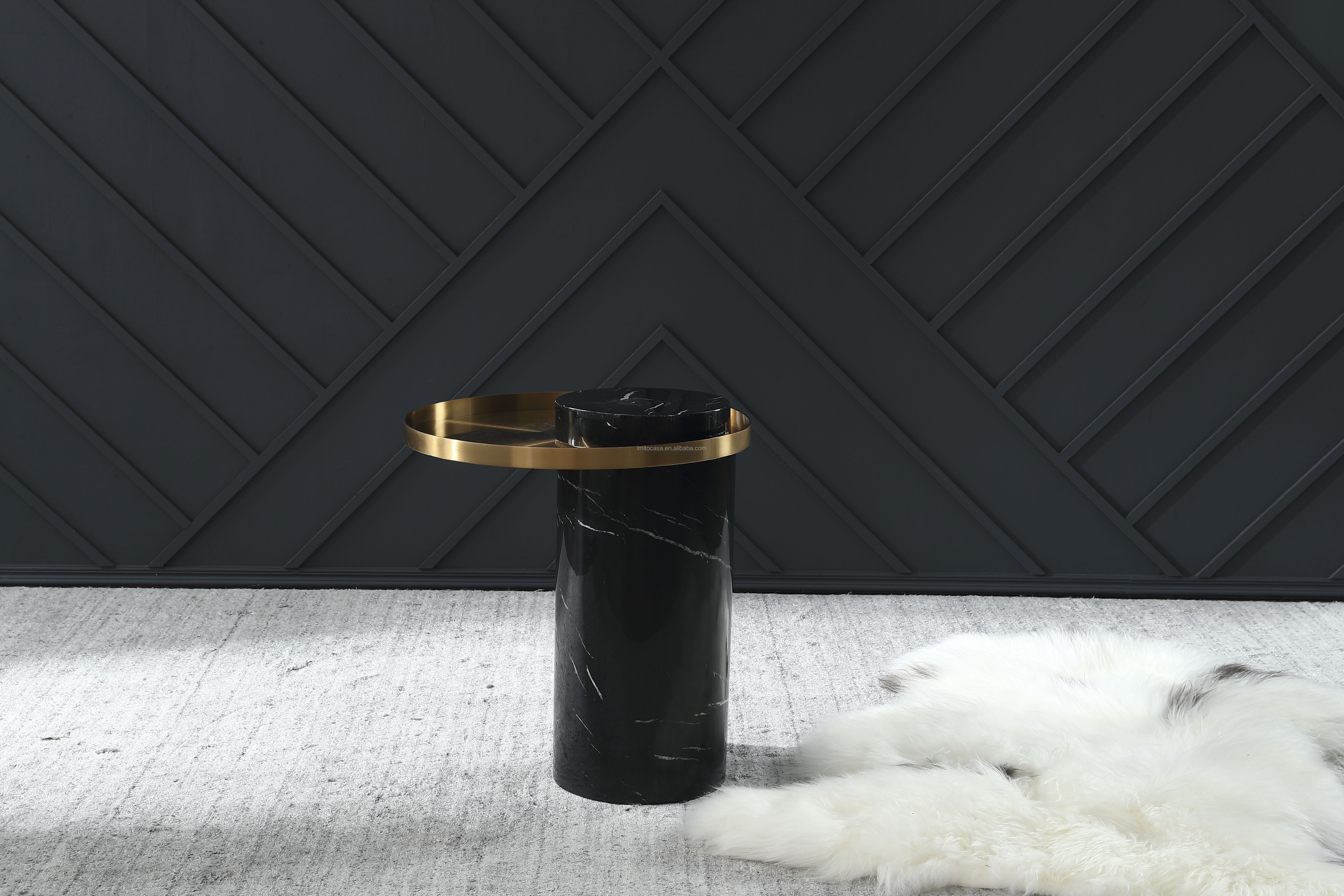 New Arrival Black Faux Marble Coffee Table Conical End Table/ American Modern Living Room Furniture Side Table