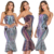 Women Mermaid Style Shiny Sequin Strapless Evening Dress Colorful Stripe Cocktail Dress