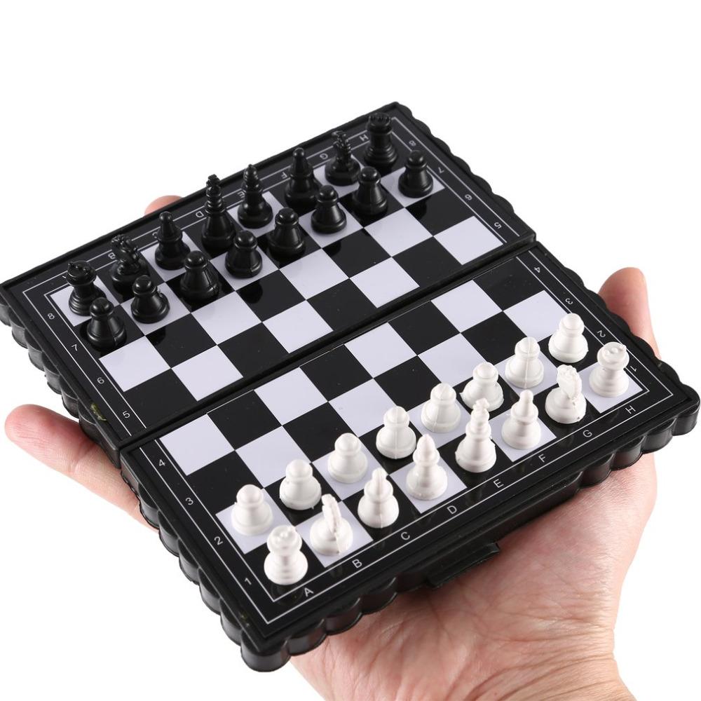 Portátil de juguete Mini ajedrez magnético plegable de plástico tablero de ajedrez juego de mesa