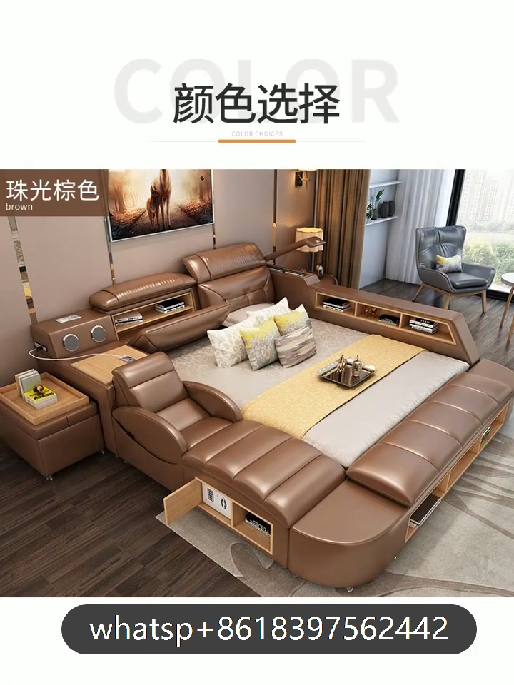 CBMMART Modern Luxury Multifunctional Bedroom Furniture White King Size Leather Bed and Living Room Sofas