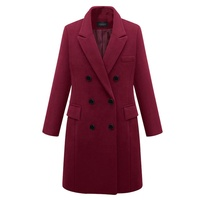 Women Trench Coats Elegant Ladies Notched Lapel Double Breasted Overcoat Classic Winter Pea Coats