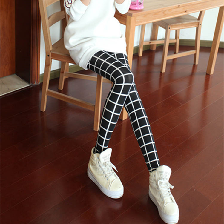 Wholesale new fashion Women's Leggings Milk silk Plaid pants Skin-friendly Slim fit  Pencil Pants Women.