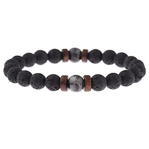 Wholesale 8mm Nature Tiger Eye Lava Stone Beads With Volcanic Bracelet