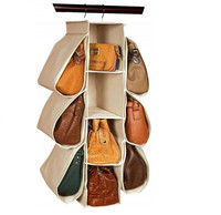 Hanging Handbag Organizer Homewares Nonwoven 10 Pockets Hanging Closet Storage Bag