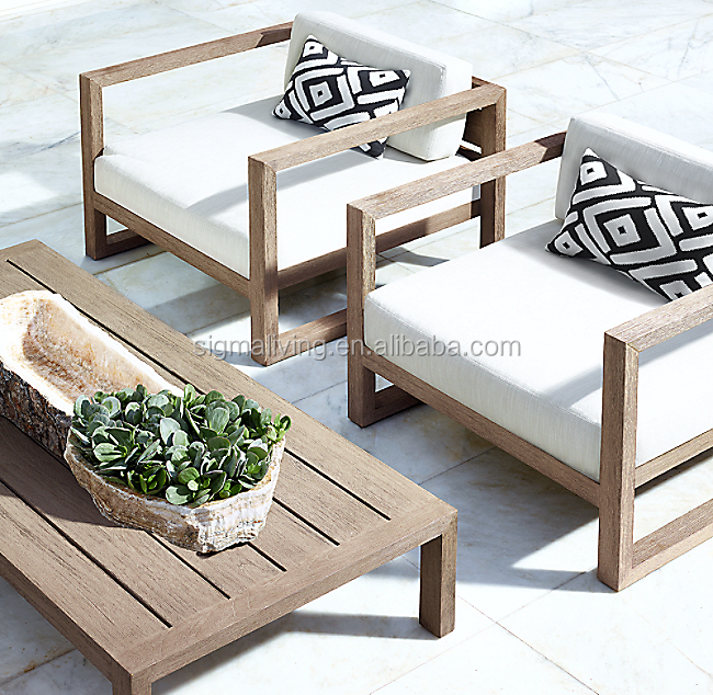 Teak furniture garden rattan furniture mix material outdoor sofa