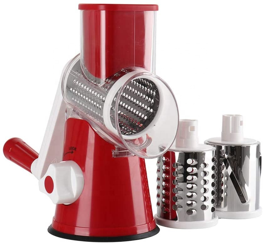 Gutsbox Upgraded Round Veggie Chopper Fruit <strong>Cutter</strong> Cheese Shredder Rotary Drum Grater <strong>Vegetable</strong> Mandoline Slicer with 3 Blades