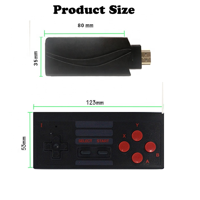 CTH01 Retro Klasik Vintage Nostalgia 2.4G Wireless HD TV Video Gamepad 628 Game Konsol dengan 2 Double Dual pemain Joystick