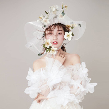 New Bride Tiara Stage Performance Hats Studio Retro Lace Hat Wedding Hair Accessories