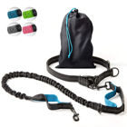 Multifunctional Pet Dog Walking Jogging Hiking Running Bungee Hands Free Dog Leash with Waist Pouch Belt recycled bag